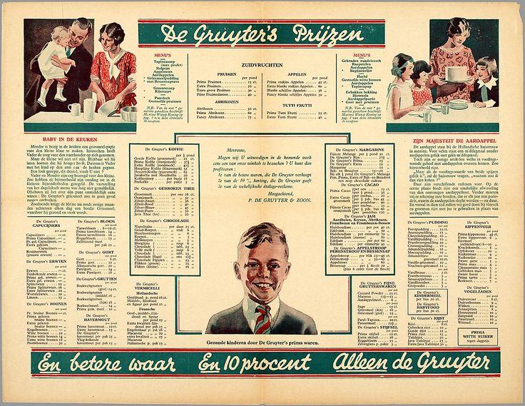 Prijslijst van De Gruyter, in onze straat