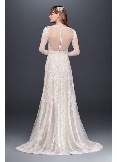 913f5de2814b5 Melissa Sweet Linear Lace Wedding Dress Style MS251173, Ivory, 14 ...