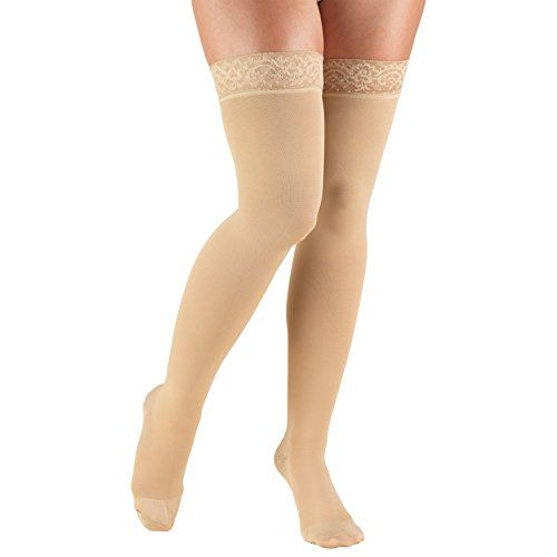 Truform Women's Closed Toe, Thigh High 20-30 mmHg Compression Stockings, Lace Top, Beige, Medium  Truform Model 8867 for women is a firm, graduated compression stocking designed with comfort in mind  Doctor-recommended to help relieve leg fatigue, swelling of the legs and feet; helps foot circulation; ideal when sitting or standing for long periods of time and for those with diabetic needs  Features an attractive lace trim top band lined with silicone mesh for increased grip to ensure ...