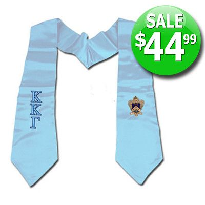 Greek Graduation Stole with Embroidered Crest and Letters - SALE
