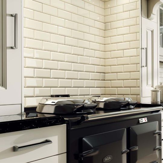 Black Gloss Kitchen Wall Tiles: £9.50 M2 Www.ceramicplanet.co.uk 10x20cm Bevel Brick Cream