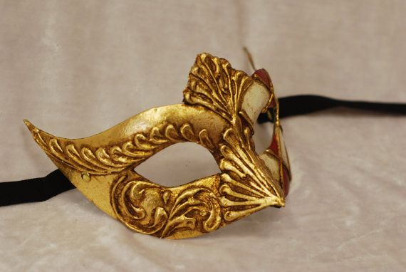 Maschera per bambini di Venezia Oro Bianco e Rosso B01
