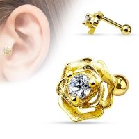 Helix piercing roos met CZ steen gold plated