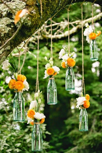 #WeddingPlanner: #ideas para decorar #bodas con botellas y flores