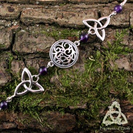 bijou tiare diadème couronne headband Lawynna Triquetra noeud celtique perle Améthyste violet foncé elfique féerique médiéval magie païen wicca mariage ésotérisme gn