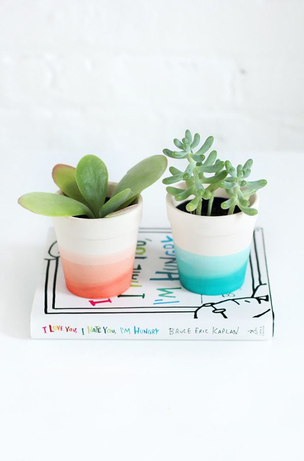 Dip-dye flower pots like they're Easter eggs. | 15 Cheap And Easy Ways To Make Your Bedroom More Colorful