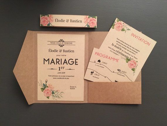 Rustic wedding ceremony invites, stationery boho pouch coupons, classic, kraft