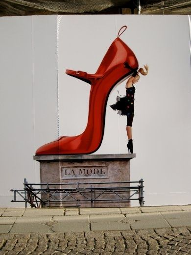 Galeries Lafayette, Paris ~ fantastic store  - this fashion ad campaign highlights its shoe dept ... more than 12,000 pairs in almost 35,000 sq. feet!