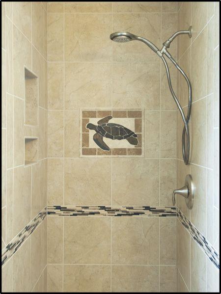 Custom turtle tile mosaic shower