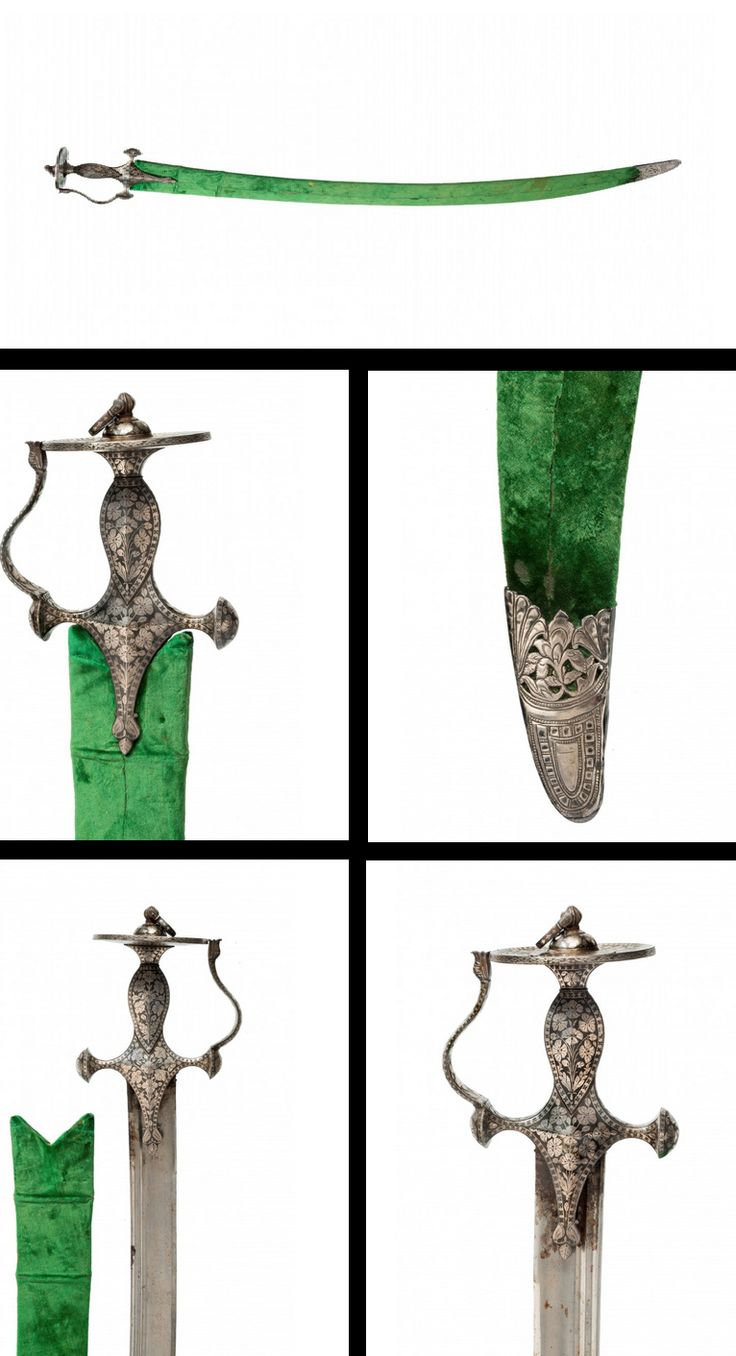 AN INDIAN TALWAR, THE HILT DECORATED WITH SILVER KOFTGARI PATTERNS OF FLOWERS, early 19th century.