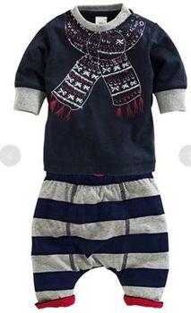yeni sonbahar bahar çocuklar gündelik giysi markası moda bebek erkek eşarp baskılı t shirt +pants 2 adet seti çocuk giysileri ayarlamak