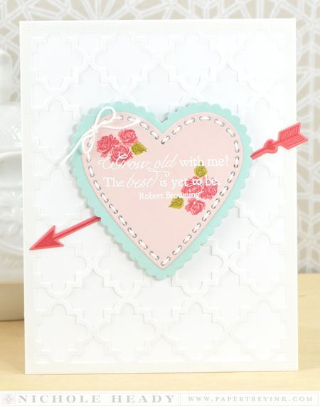 Grow Old With Me Wedding Card - love the cupid's arrow addition! great trick: make the arrow longer by cutting it in the middle and spread it apart underneath something like this heart.
