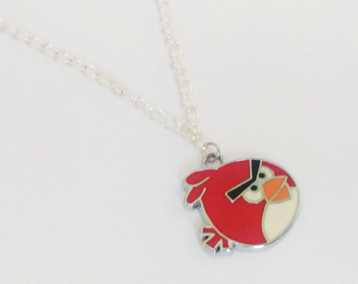 Cute red angry animal charm bird silver plated chain videogame geek necklace  #Unbranded #Charm