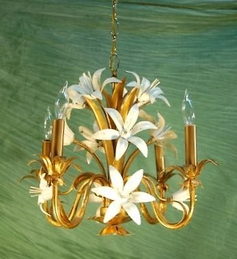 Italian Gilt Metal and Enameled White Lily Lilies Floral Flower Chandelier | eBay