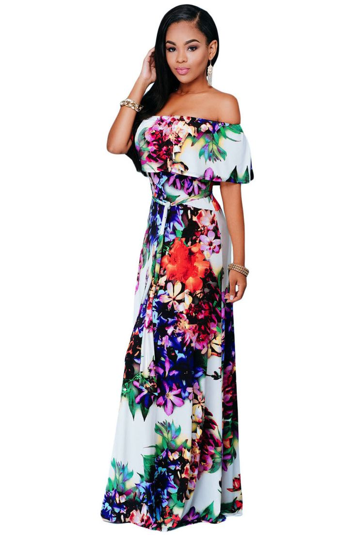 €22.16 @Modebuy #modebuy  Robes Maxi Multi-couleur Fleur Imprime Epaules Denudees #Grande #commentalways #pretty #likeall #following #discount #styles #Achats #photooftheday #l4l #likealways #shoutout #france