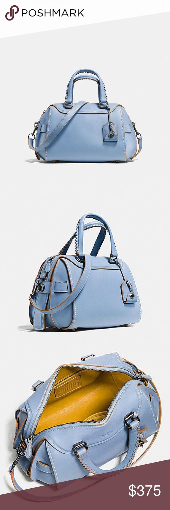 "COACH ACE SATCHEL HANDBAG IN CORNFLOWER BLUE 37212 COACH ACE SATCHEL PURSE IN CORNFLOWER BLUE GLOVE TANNED LEATHER WITH HANDPAINTED EDGING AND LEATHER INTERIOR!  One of a Kind 75th Anniversary Limited Edition  STYLE #: 37212  MEASURES:  14 1/4"" (L) 9 1/4"" (H) X 7 3/4"" (W)  MSRP $595  This bag has never been used and will come with the dust bag. It's a beautiful purse, but the color isn't my style so I'm hoping it will find a good home. There's a reason why so many celebrities love this bag…"