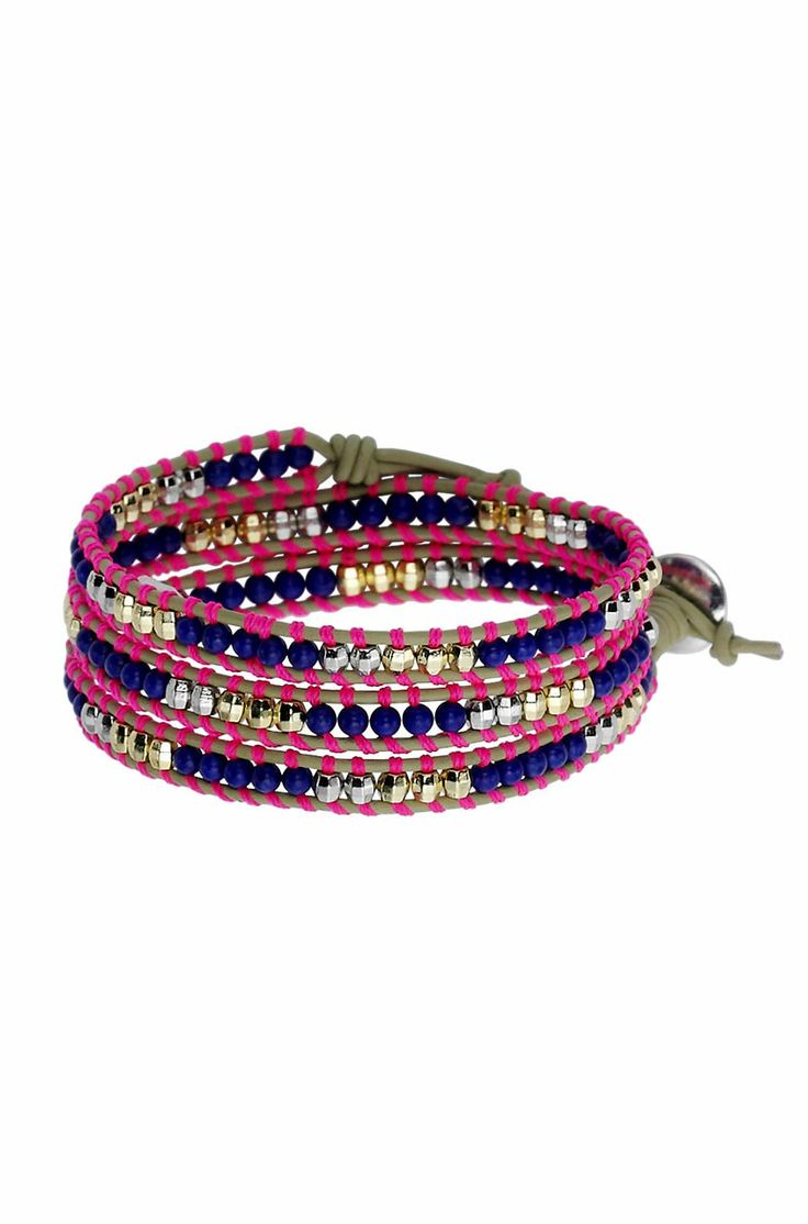 Triple wrap bracelet in pink and blue.