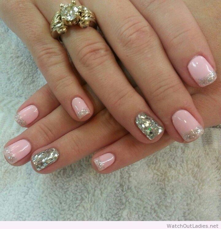 Botanic Nails Light Pink, Silver Glitter, Tips