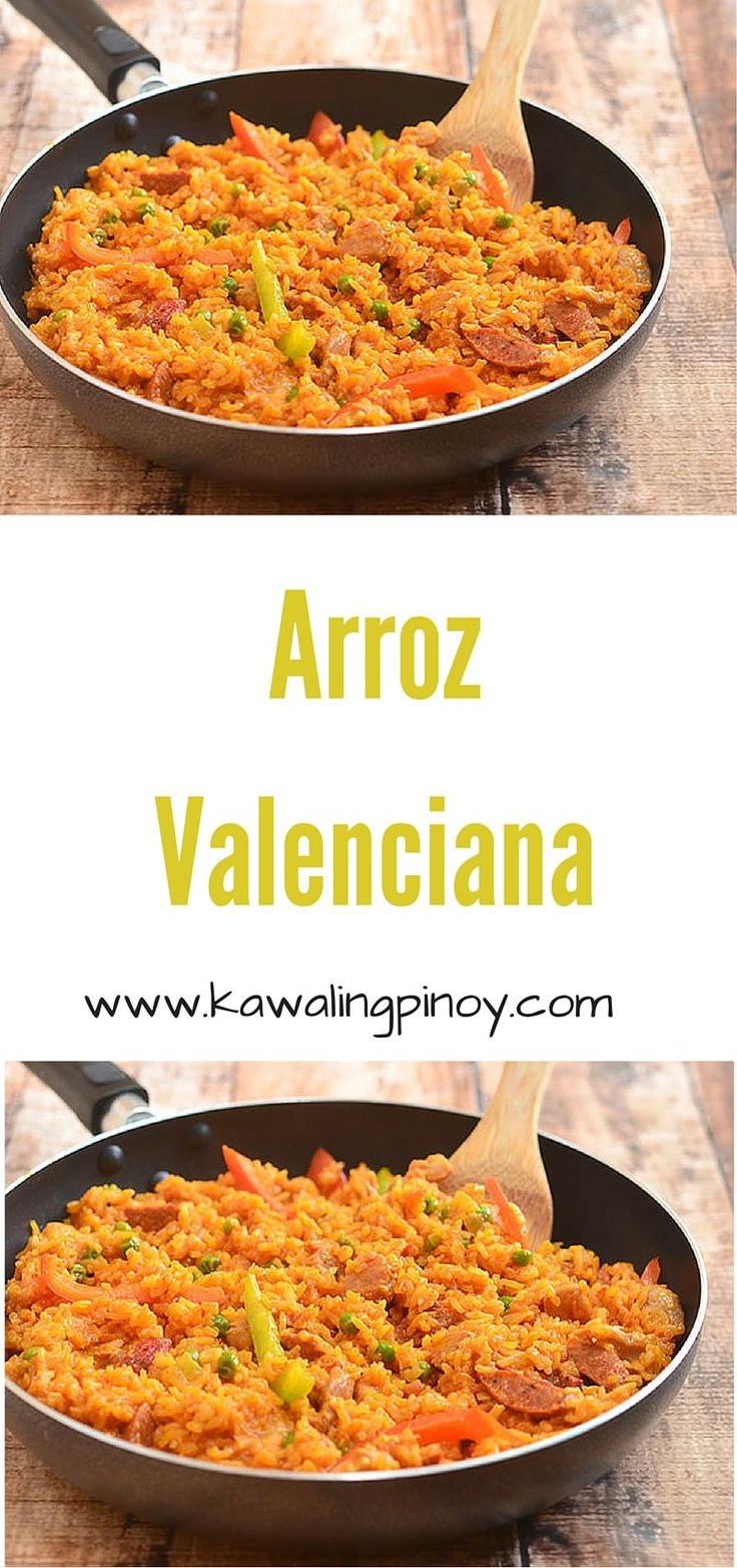 Arroz Valenciana is a Filipino dish often served on Christmas and other special occasions; it is made with rice, chicken, sausages, bell peppers, green peas, coconut milk and spices for a truly festive meal