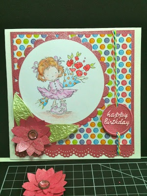Lili of the Valley Image.  Cuttlebug Happy Birthday and create-a-flower.  Stampin' Up! Flower punches.  Martha Stewart Doily Lace Punch.  Spellbinders Circle and Scalloped Circle.