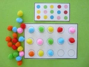 place pompoms in same order as on card. use tweezers for fine motor practice!