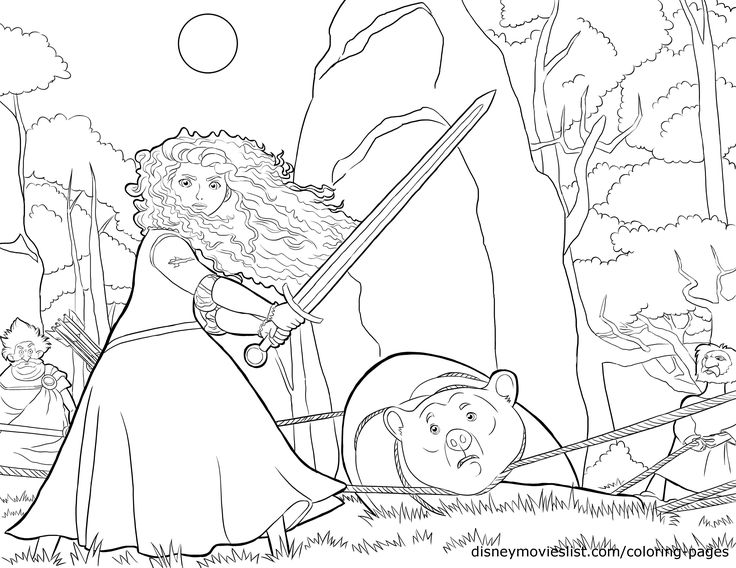 Disneys BraveMerida With Sword Protecting The Queen Coloring Page