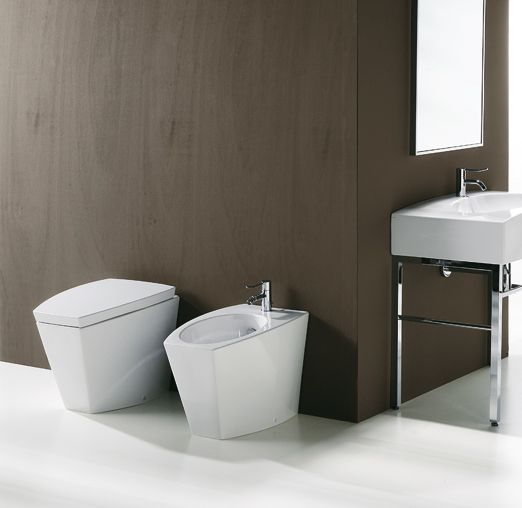 DU04 + DU01 | Duemilasette Ceramica Simas Back to wall bidet with single tap hole Back to wall WC