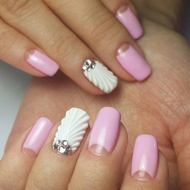 Дизайн ногтей ракушка фото
