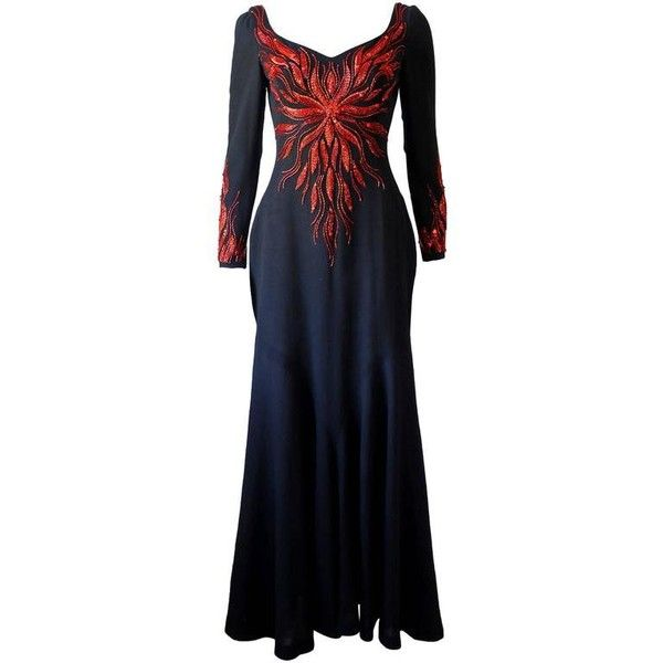 Preowned Murray Arbeid Embellished Fire Evening Dress, C. 1970s ($4,354) ❤ liked on Polyvore featuring dresses, black, plunge back dress, low cut back dress, embroidery dress, embellished dress and embelished dress