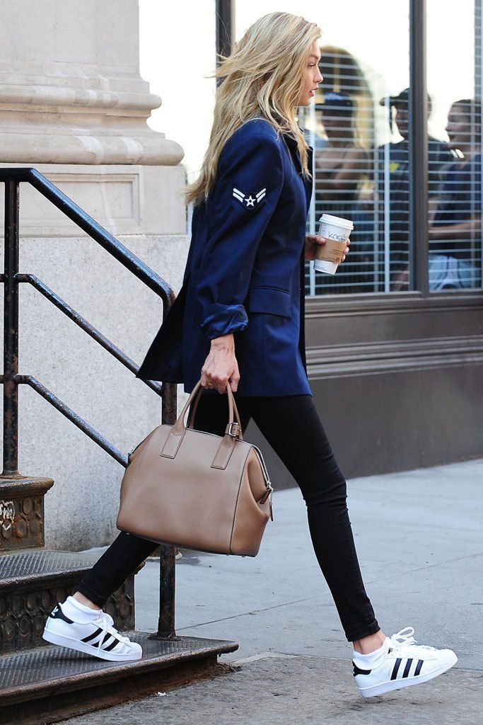 Gigi Hadid in Adidas Superstar sneakers.