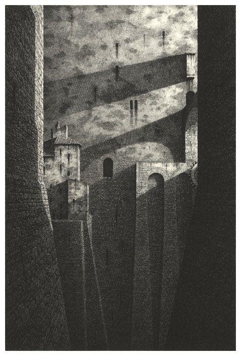 Gerard Trignac, Le mur, Eau forte, burin, pointe sèche, 2005