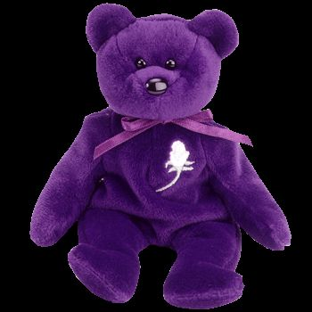 Ty Beanie Babies - Princess The Purple Bear (Princess Diana) Like an angel, she came from heaven above She shared her compassion, her pain, her love She only stayed with us long enough to teach The wo