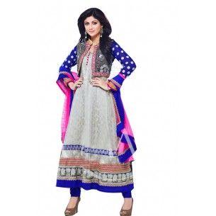 Shop Now - http://www.valehri.com/grey-blue-designer-shilpa-shetty-anarkali-salwar-kammez-1357 Price - 4,410 INR Rs