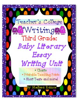 Disclaimer: In no way is this meant to replace all of the materials provided to you by TC, including their books and/or CDs, but this is meant to be a strong supplement to provide teacher support while teaching TC units.Teacher's College Reader's and Writer's Workshop Baby Literary Essay Unit Supplements includes:-unit outline-essential and guided questions for each bend-CCSS-teaching points-charts -sample published piece-lots of printable short stories! (plus suggested texts)-editing…