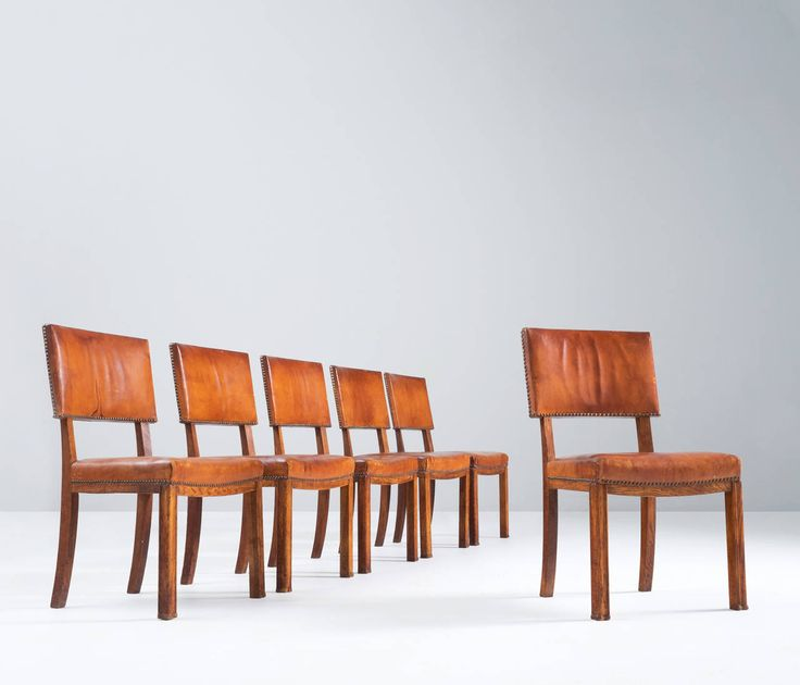 Danish Set Of Cognac Leather Dining Chairs. Modern Dining Room ...