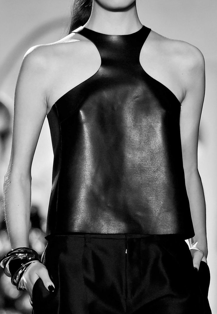 Black leather top; chic fashion details // Dsquared Spring 2015