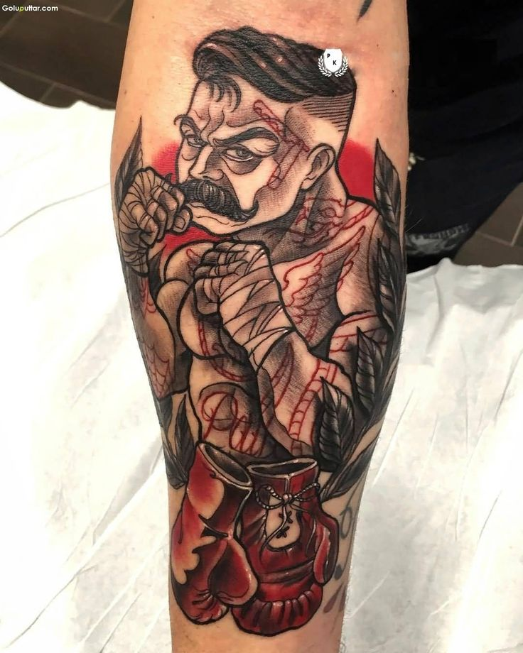Fabulous Forearm Decorated With Animated Fighter Tattoo