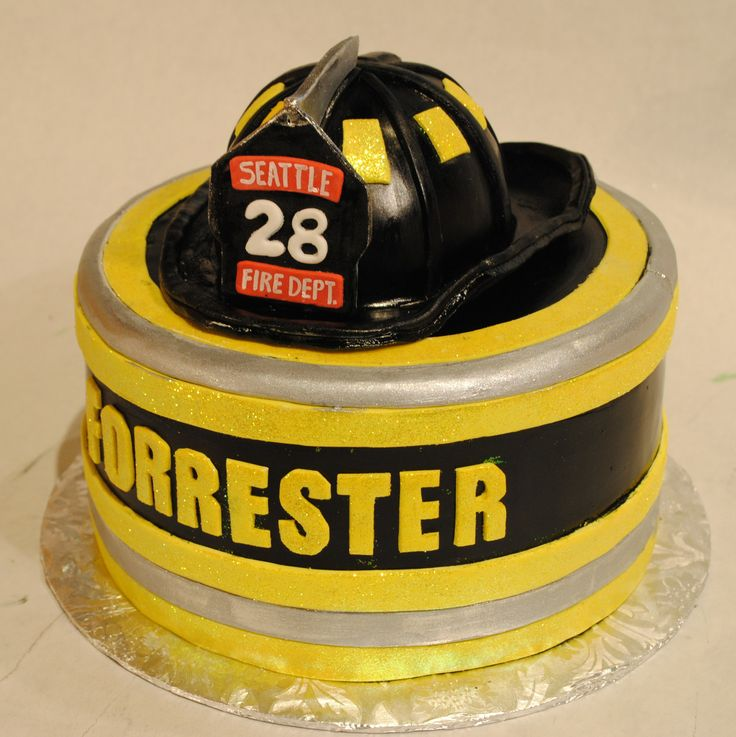 Firefighter Helmet  Reflective Trim Cake | Shared by LION