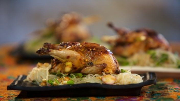 Look at this recipe - Quails and Noodle Salad - from Reza Mahammad and other tasty dishes on Food Network.