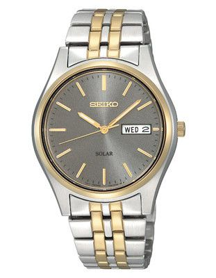 Seiko Solar Mens Watch - Gray Dial - Two-Tone - 10 Month Power Reserve - 36mm
