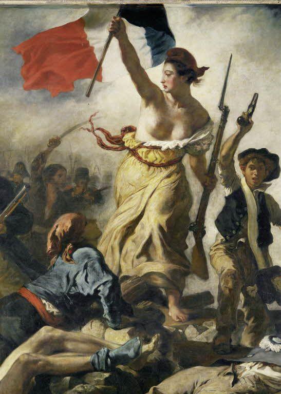 Eugène DELACROIX - La Liberté guidant le peuple (28 juillet 1830) - Salon de 1831 - Louvre (célèbre Révolution de 1830 qui vit chute de Charles X et arrivée au pouvoir de Louis-Philippe)
