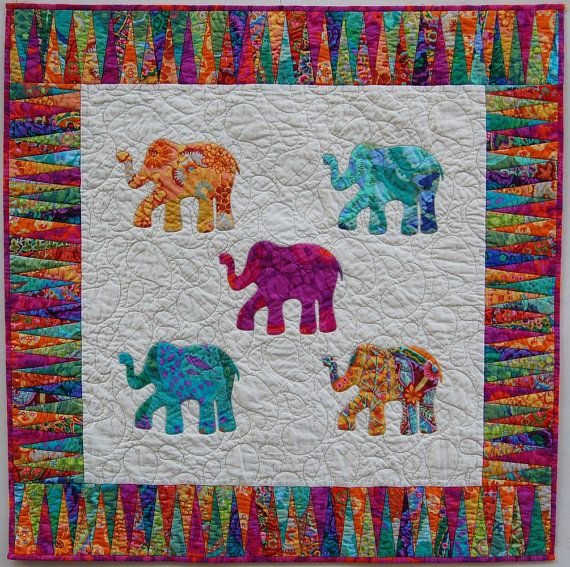 Bright Hand Appliqued Elephant Quilt by sunbury on Etsy, $175.00
