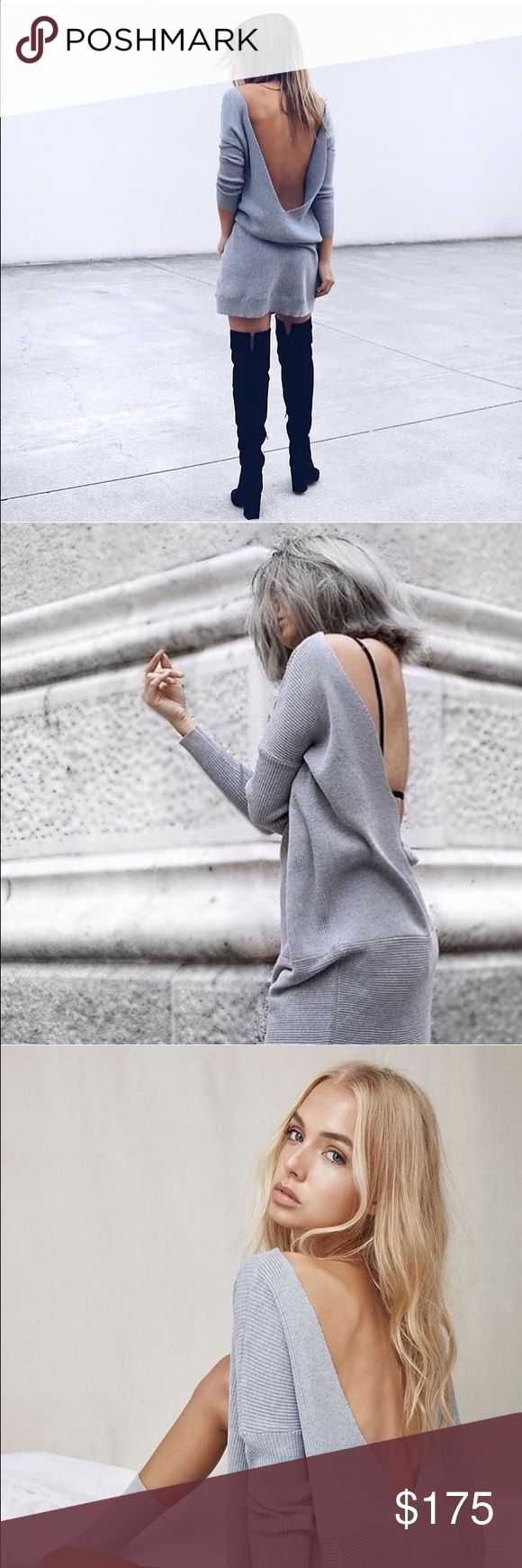 🆕 Oversized Backless Sweater Knit Dress Finders Keepers the label oversized grey Knit sweater dress. Australian label not to be confused with Finders Keepers. Sold out online! Finders Keepers Dresses Backless