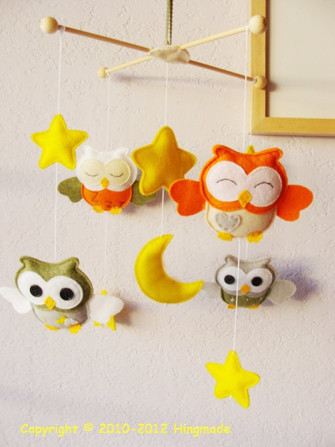 orange grey owl mobile, boys from maybe? I love owls!