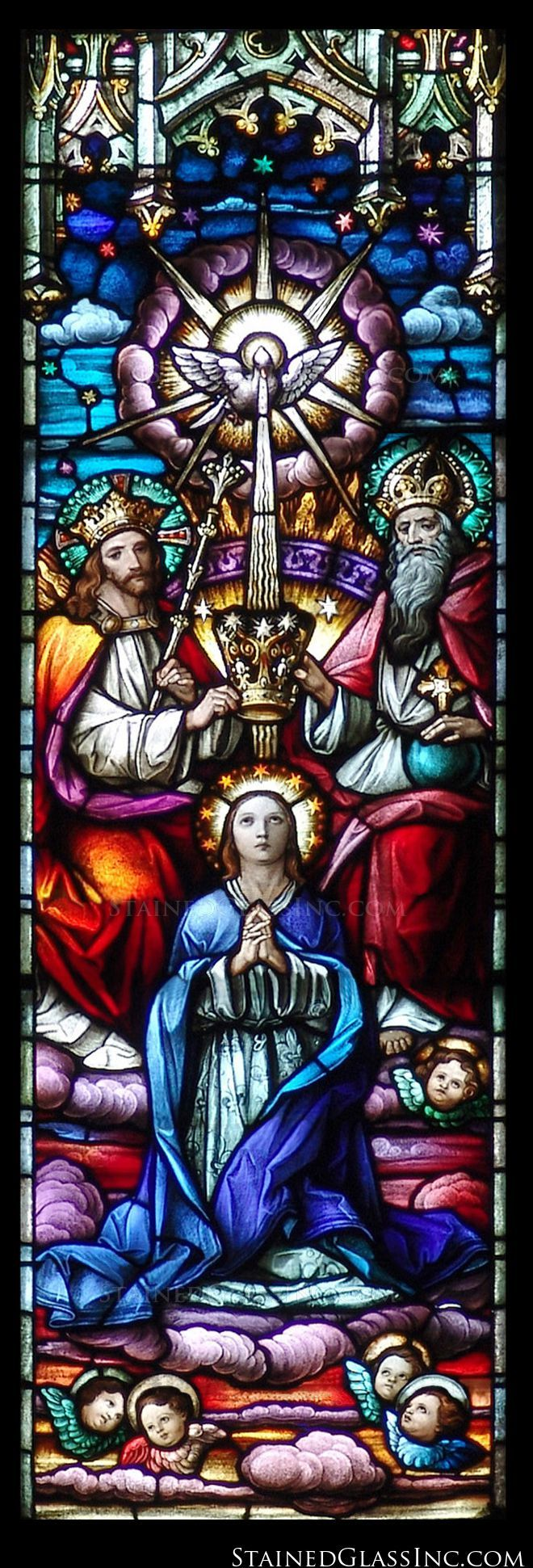 """""""The Crowning of Mother Mary"""" Religious Stained Glass Window"""