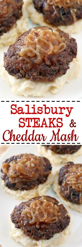 Salisbury Steak with Cheddar Mashed Potatoes #dinner #beef