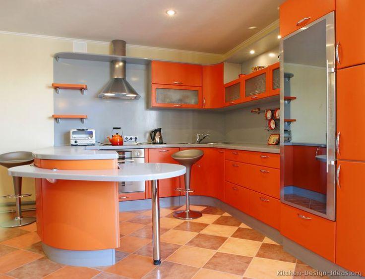 Modern galley kitchen white orange quartz countertops Orange and yellow kitchen ideas