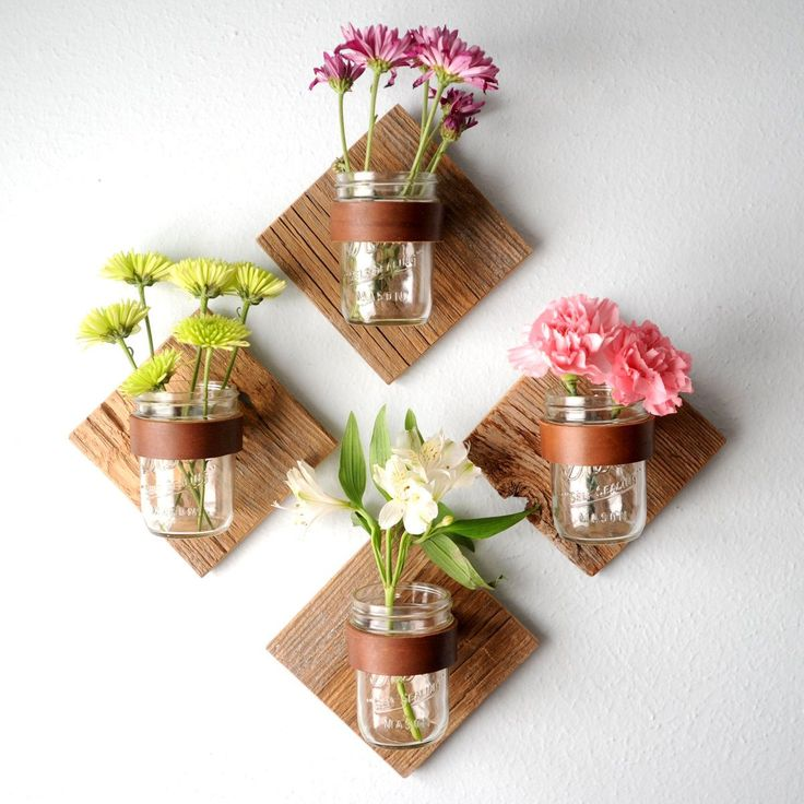 DIAMOND Rustic mason jar sconce made from weathered and reclaimed wood fence picket, leather and mason jar for your fresh summer flowers