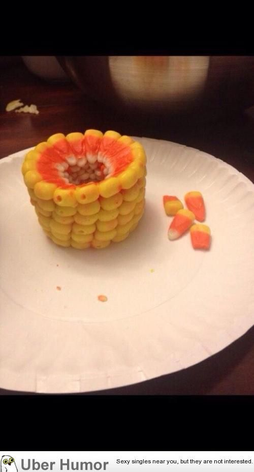 Stacked candy corn looks like corn on the cob