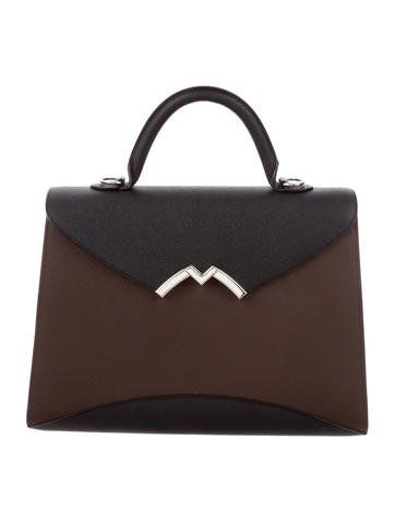 a4427dfce3 Mocha grained calfskin Moynat Gabrielle MM satchel with silver-tone  hardware. Shop authentic designer handbags by Moynat at The RealReal.